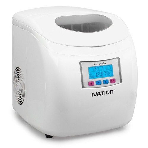 Ivation IVA-ICEM25WH Portable Ice Maker with LCD Display