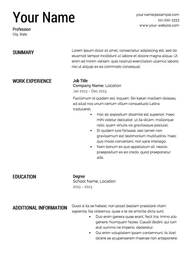 Resume Templates Free Printable Free Resume Templates To Print