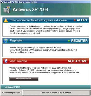 Fake Antivirus XP 2008