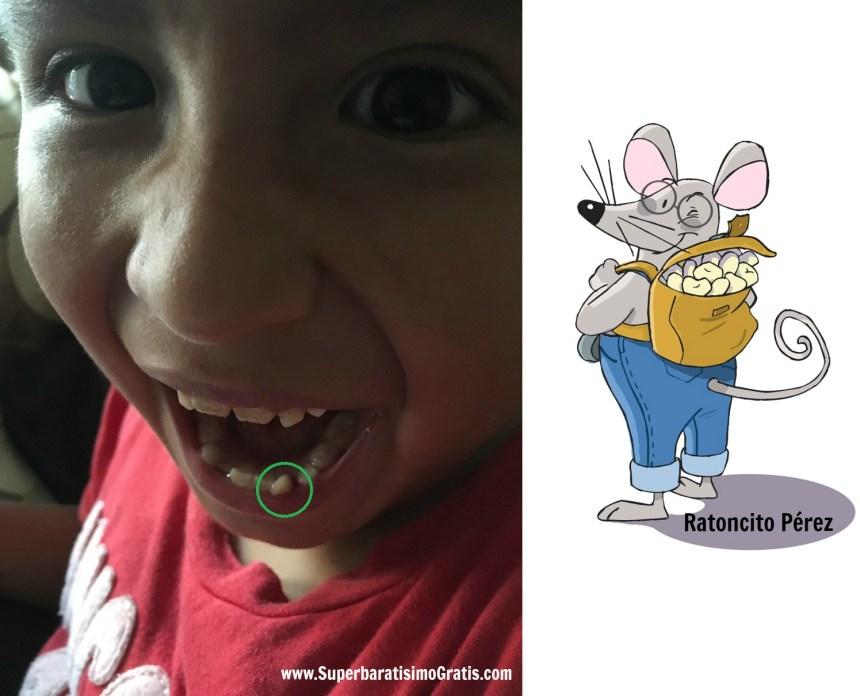 Ratoncito Perez y Nicolas con su quinto diente de leche