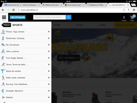 menu  sur iPad