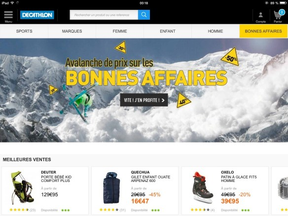 home page decathlon sur iPad