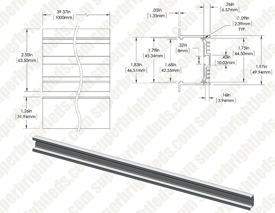 led strip light wiring diagram honeywell central heating 2 wide aluminum profile housing for lights anodized