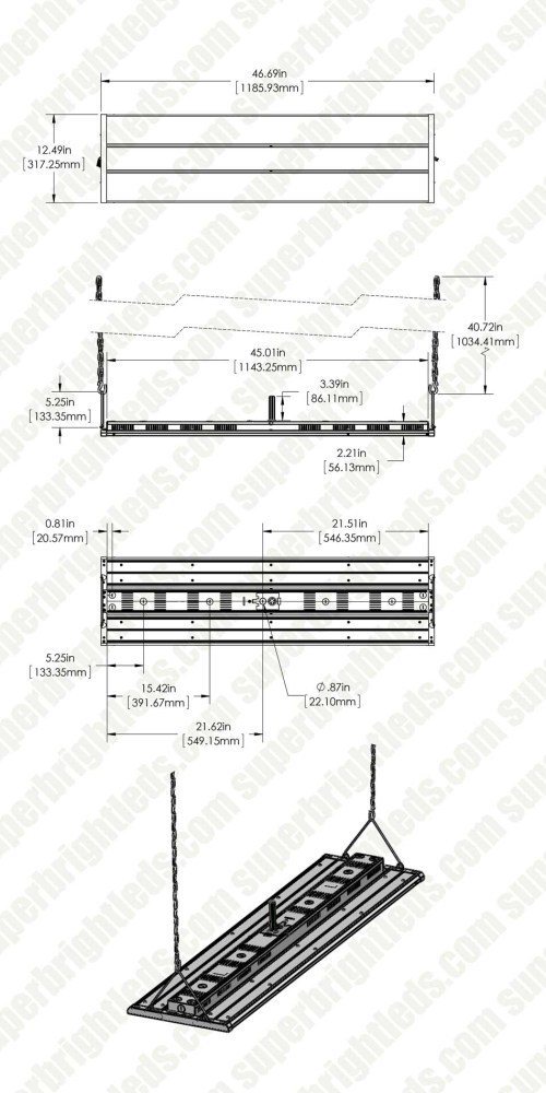 small resolution of 225w led linear high bay light 29 250 lumens 4ft 400w metal halide equivalent 5000k