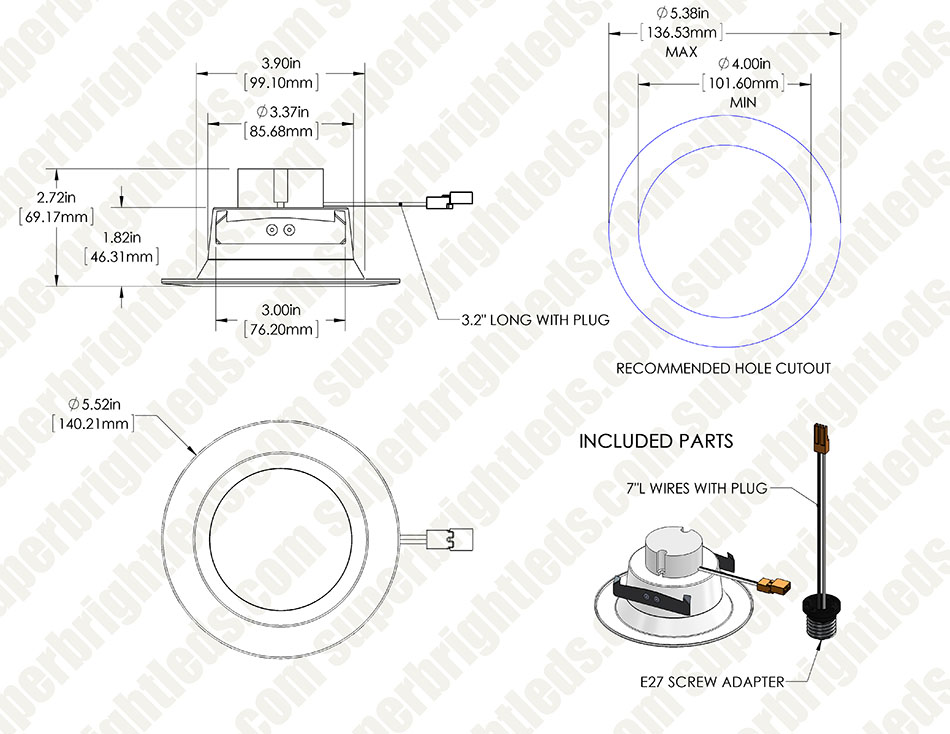 recessed lighting parts diagram arm bones labeled led kit for 4 cans retrofit downlight w can light fixtures 90 watt equivalent conversion dimmable 900 lumens