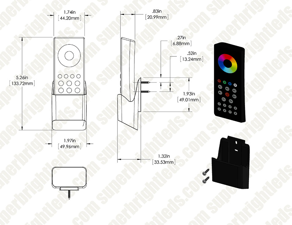 Wireless RGBW 8 Zone LED Remote w/ Cradle for EZ Dimmer