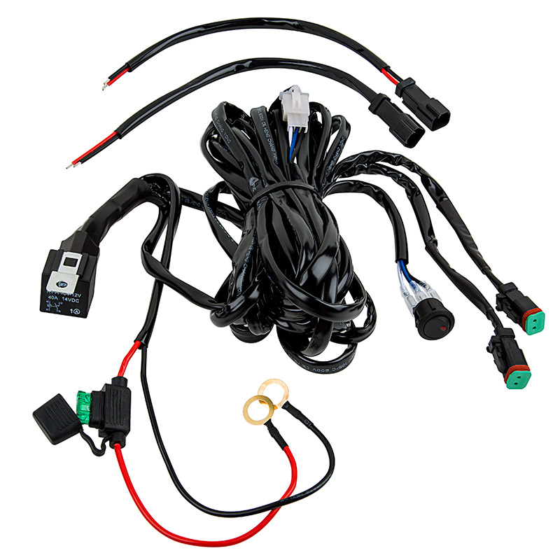 off road light wiring diagram without relay 2002 nissan altima fuse led harness with switch and - dual output, dt connector | work ...