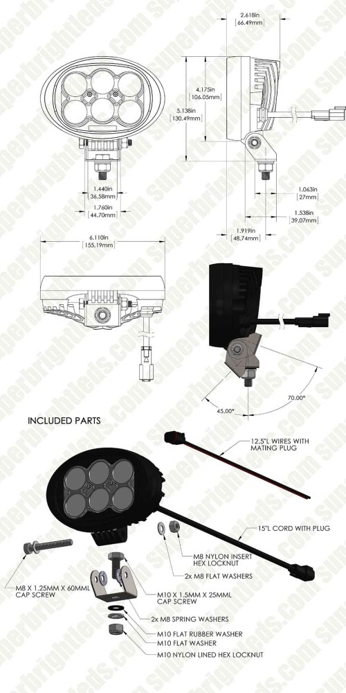 small resolution of led work light 6 oval 45w 5 400 lumens