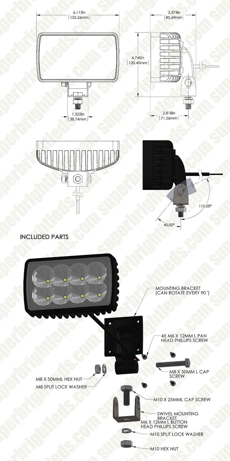medium resolution of led auxiliary light 6 rectangular 24w heavy duty off road driving light
