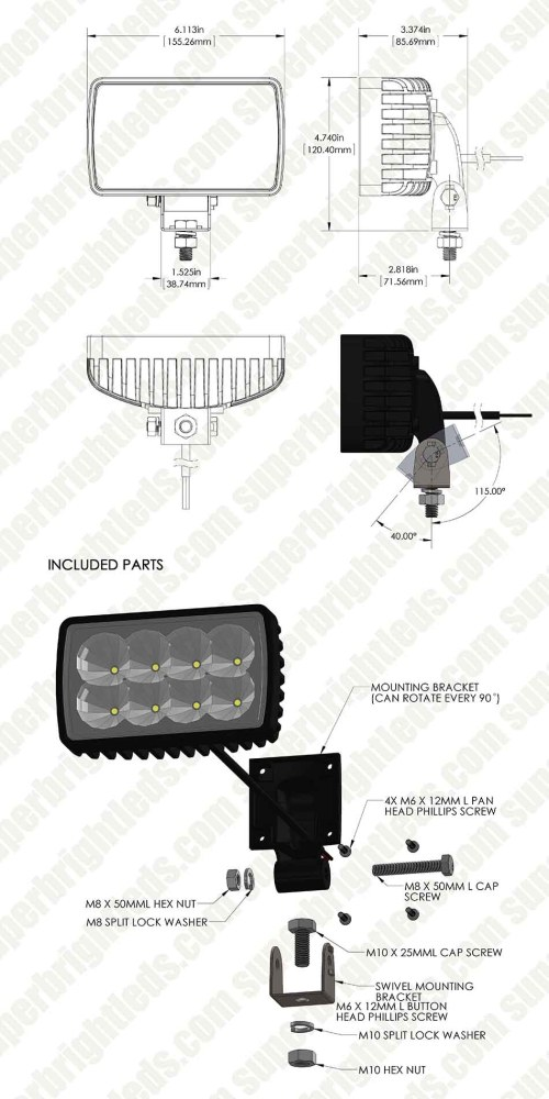small resolution of led auxiliary light 6 rectangular 24w heavy duty off road driving light
