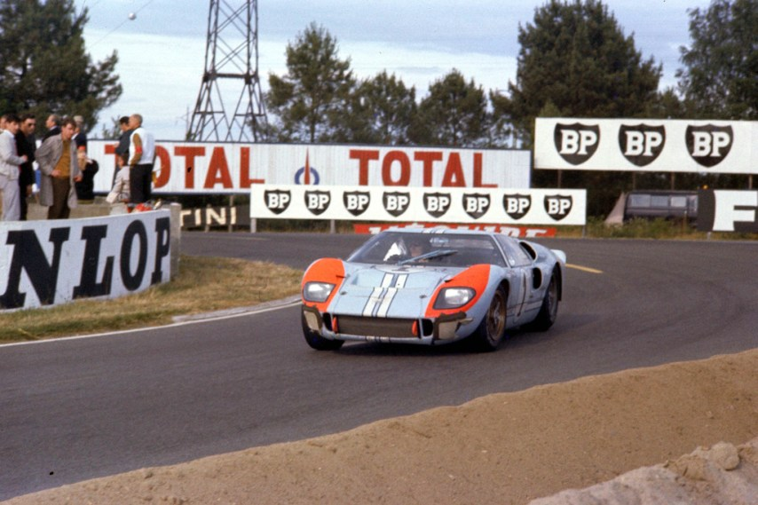 24 Hours of LeMans, LeMans, France, 1966. Ken Miles/Denis Hulme Shelby American race winning Ford Mark II at the Mulsanne Hairpin. CD#0554-3252-2890-19.