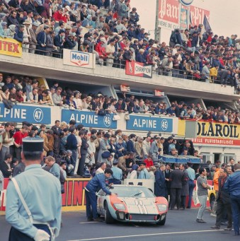 24 Hours of LeMans, LeMans, France, 1966. Ken Miles/Denis Hulme Shelby American Ford Mark II before the race. CD#0777-3292-0624-2.