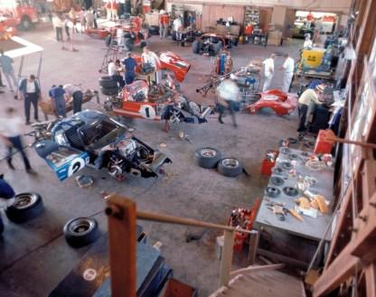 Sebring, Sebring, FL, 1966. Shelby American Ford Team's hanger garage. CD#0777-3292-0630-24.