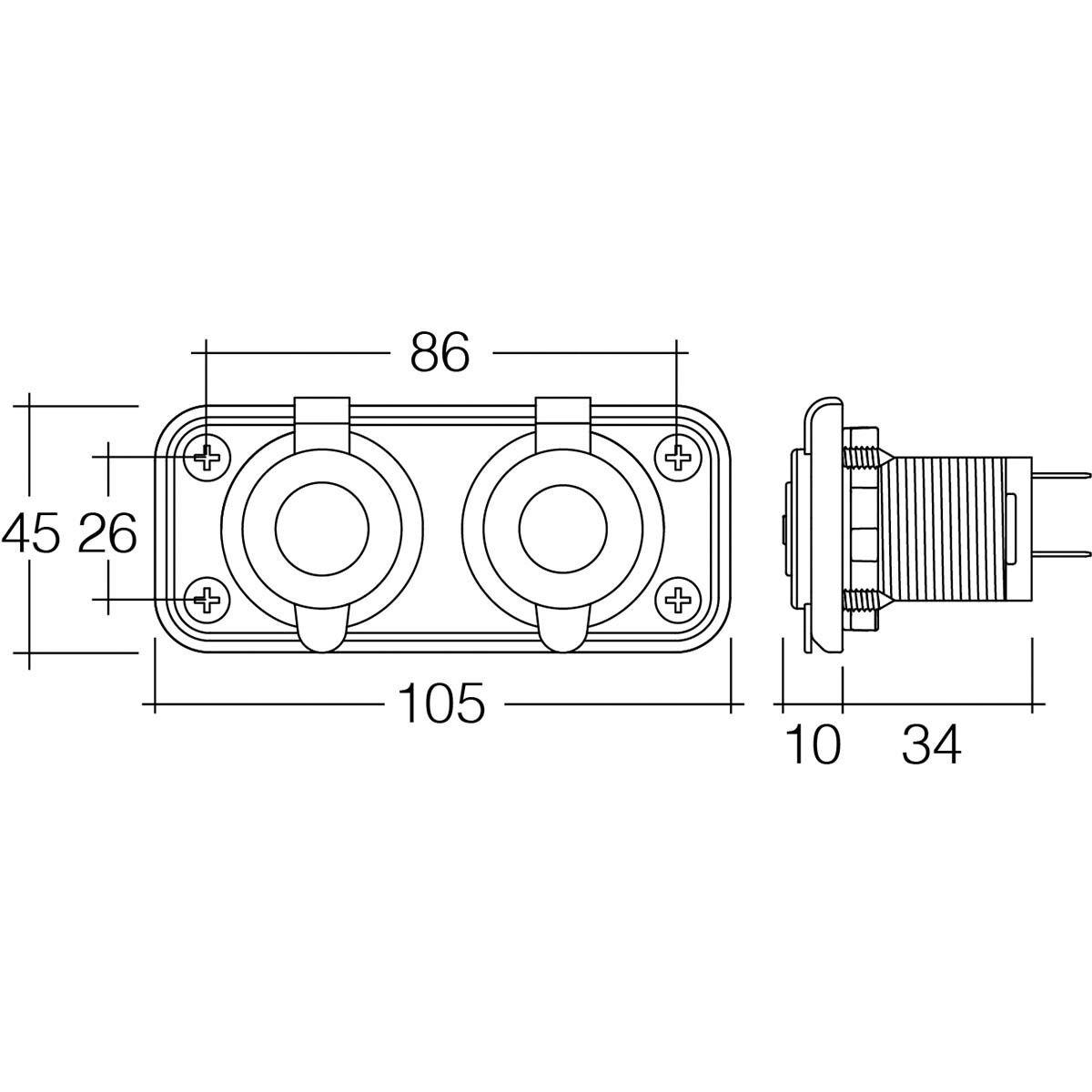 12 24v twin accessory usb socket heavy duty acc dual usb [ 1000 x 1000 Pixel ]