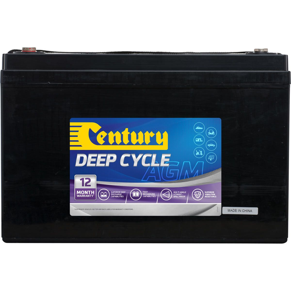 hight resolution of century deep cycle agm battery c12 120da 120ah scaau hi res