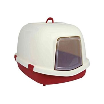 Trixie Primo Cat Litter Tray with Hood/Flap/Handle, X-Large, 71 x 56 x 47 cm, Bordeaux/Cream 2