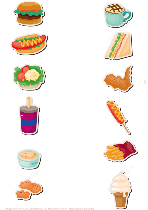 Fast Food Stickers Free Printable Papercraft Templates