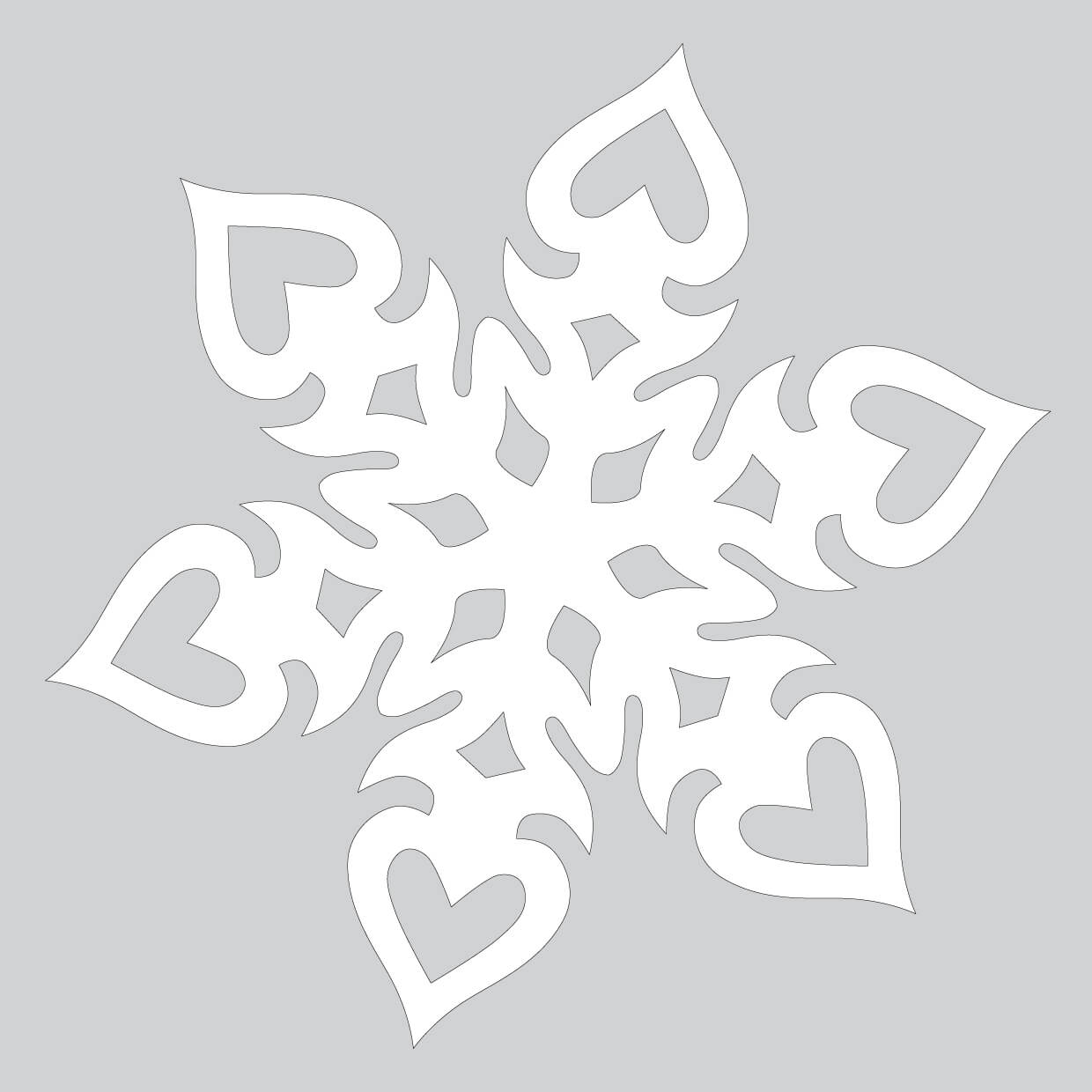 Heart Shaped Paper Snowflake Pattern To Cut Out