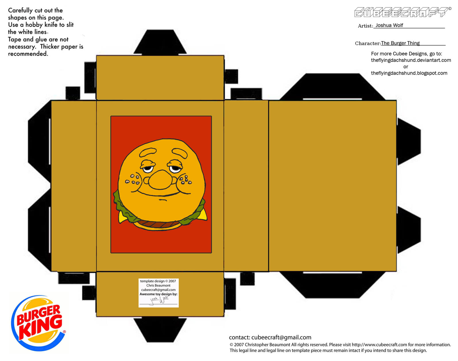 Burger Thing Paper Toy