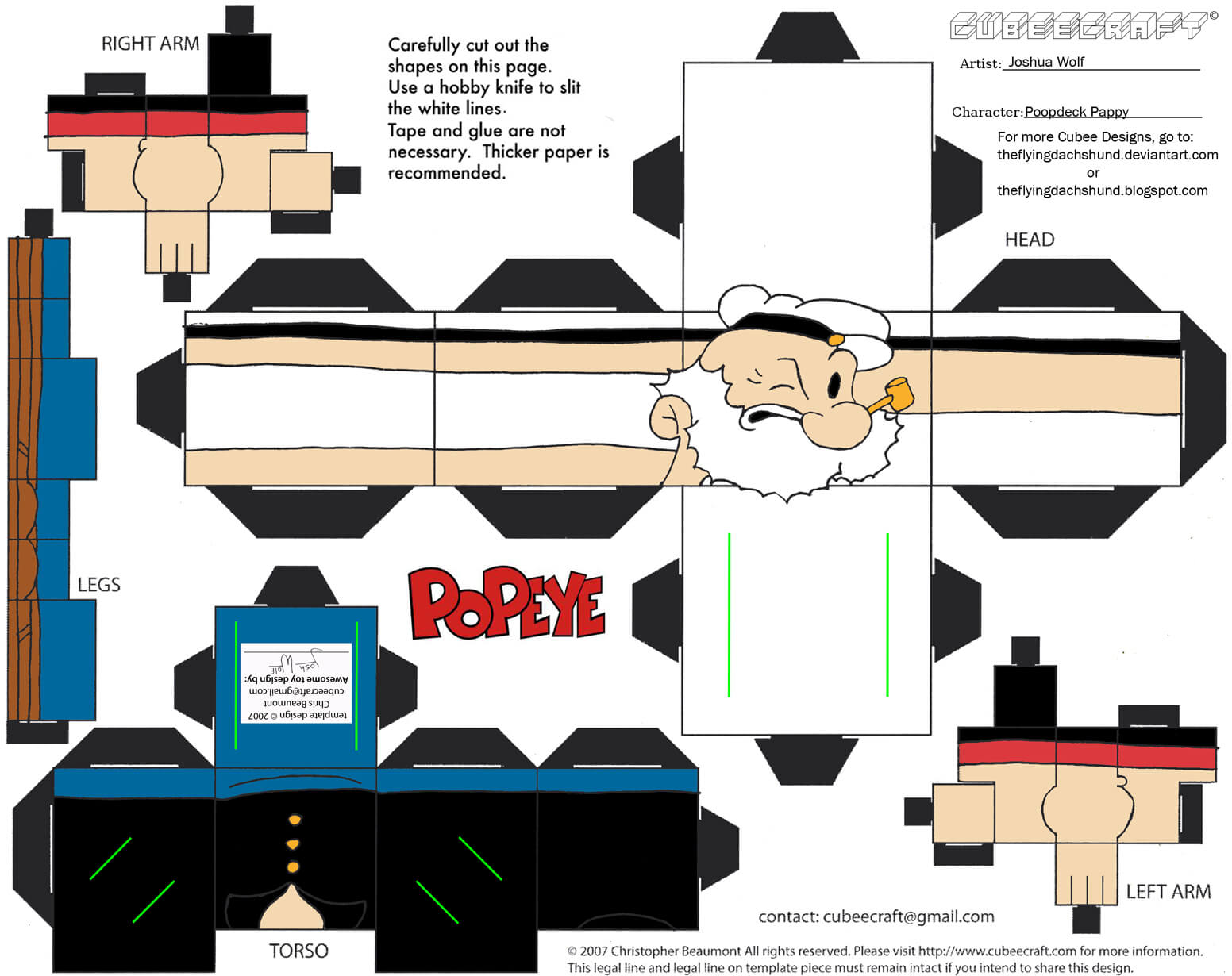 hight resolution of poopdeck pappy paper toy