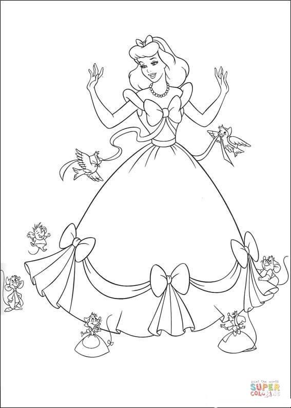 Dibujo de Los pájaros y los ratones ayudan a Cenicienta