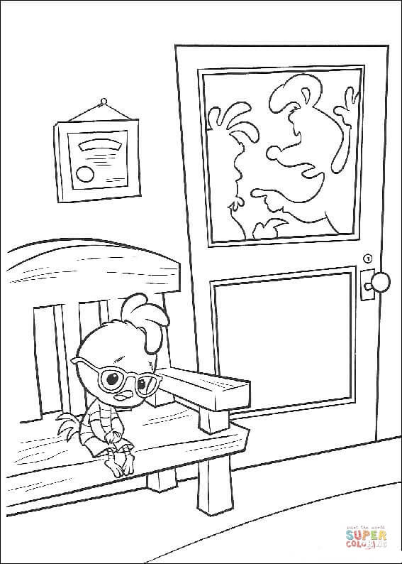 Chicken Little Is Sitting On The Chair coloring page