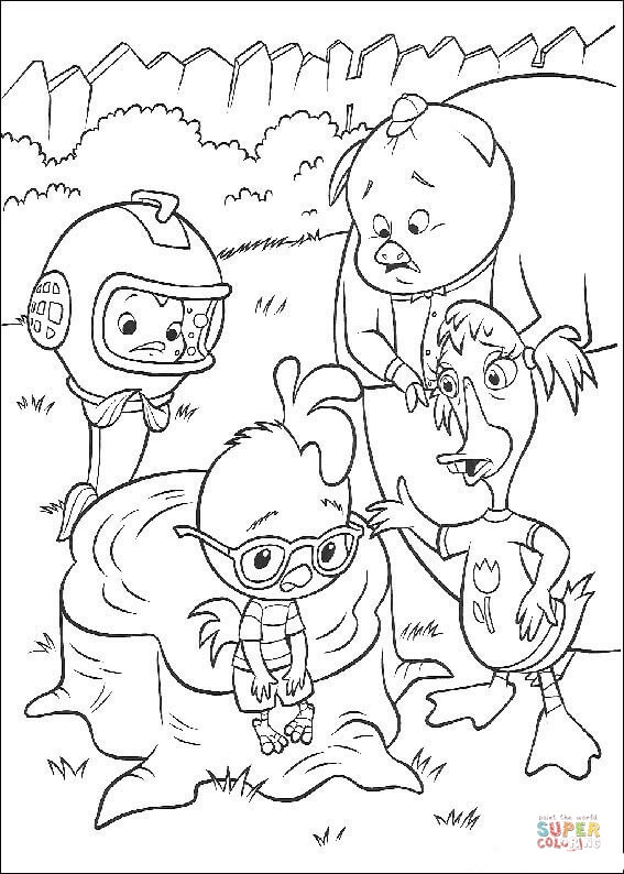 Chicken Little Is Talking With his Friends coloring page