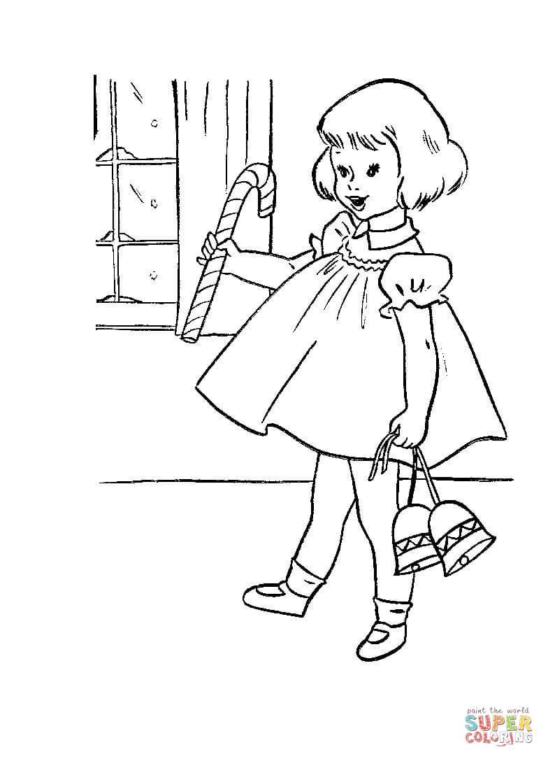 Dibujo de Niña pequeña con caramelos y campanas de Navidad