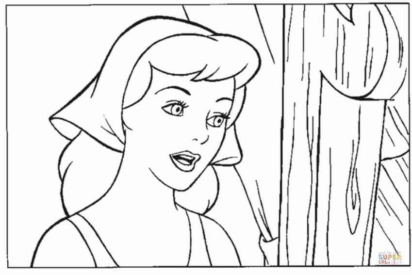 Disegno di Cenerentola e il suo bel viso da colorare