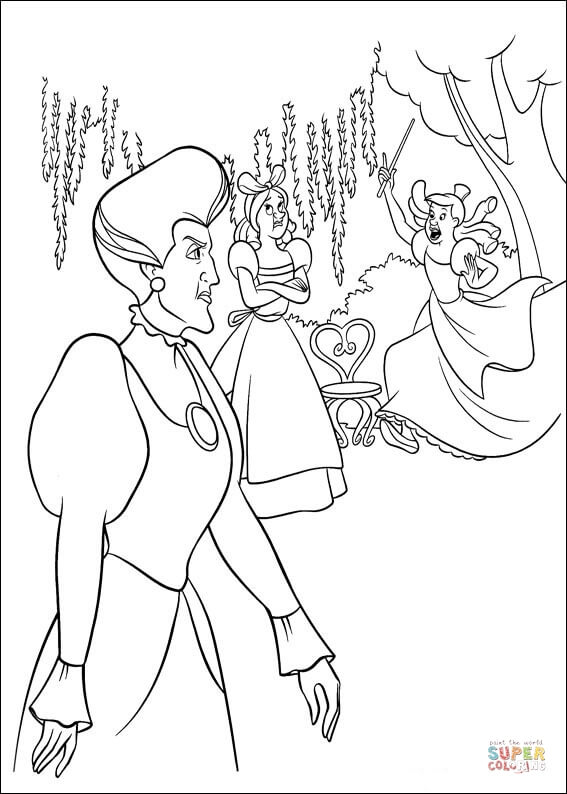 Cinderella's Stepmother And Two Sisters coloring page