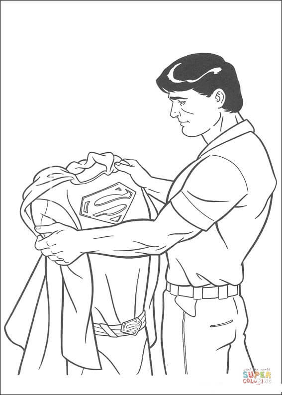 Clark Kent Is Holding His Superman Costume coloring page