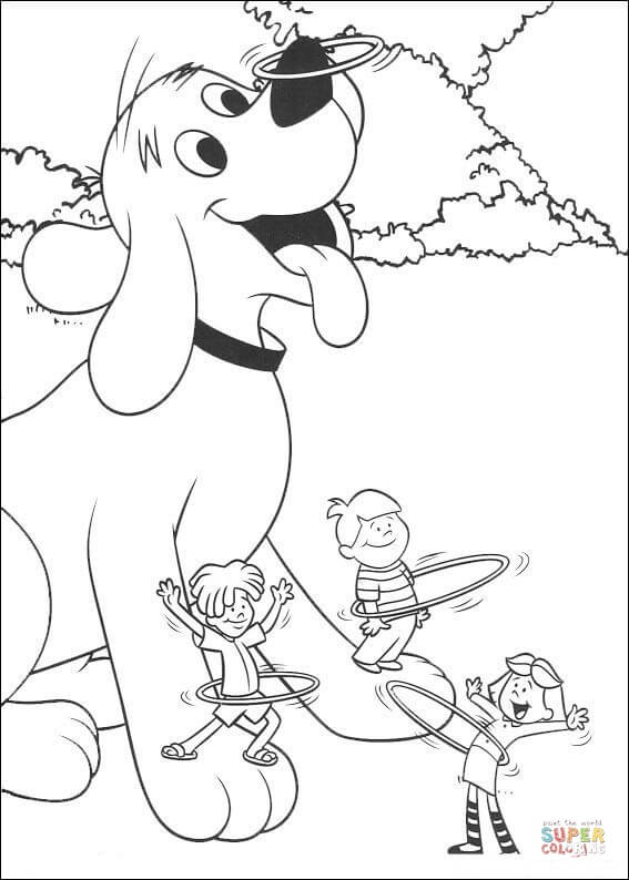 Clifford And Friends Are Playing Hulla hoop coloring page