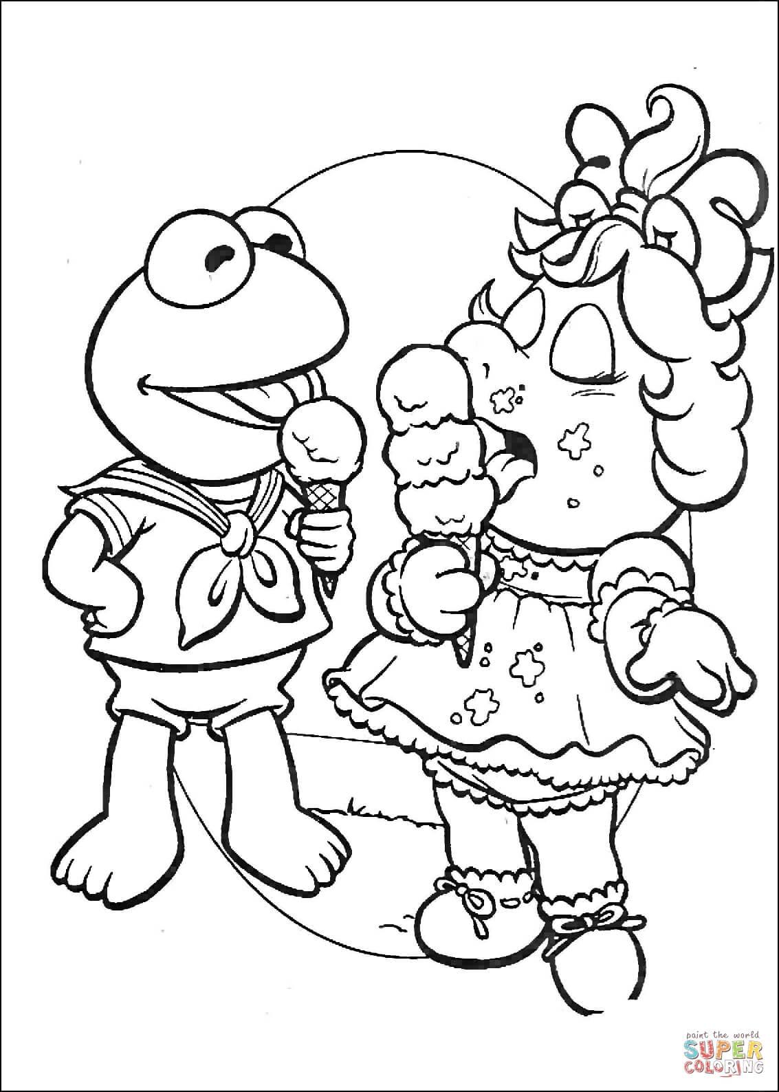 Dibujo de Baby Kermit y Miss Piggy comiendo helado para