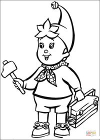 Noddy Brings A Hammer And The Tools coloring page