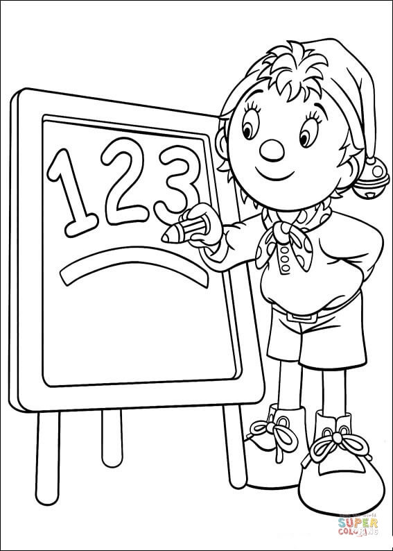 Noddy writes numbers 1, 2, 3 on the board coloring page