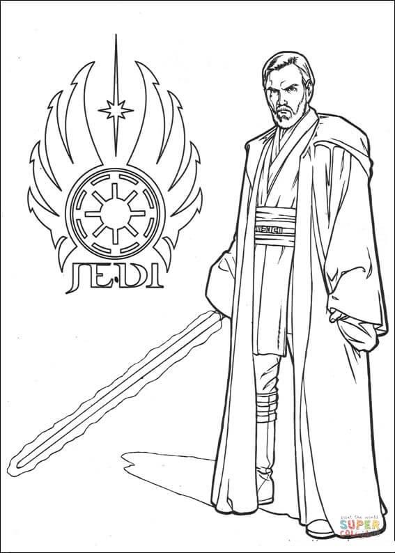 Ausmalbild Star Wars Obi Wan Kenobi Ausmalbilder