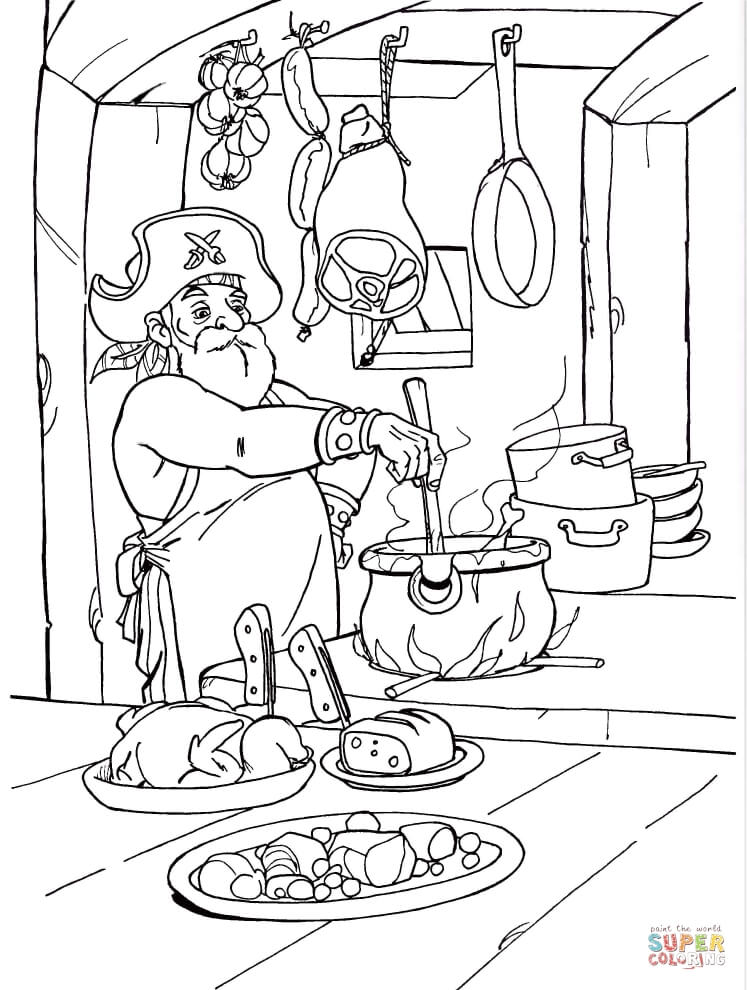 pirate chef coloring page  free printable coloring pages