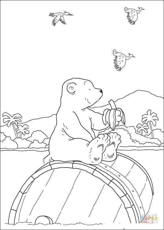 Ausmalbild: Der kleine Eisbär isst eine Banane