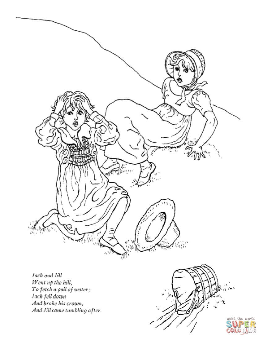 Jack And Jill Went Up The Hill Coloring Page Free Printable