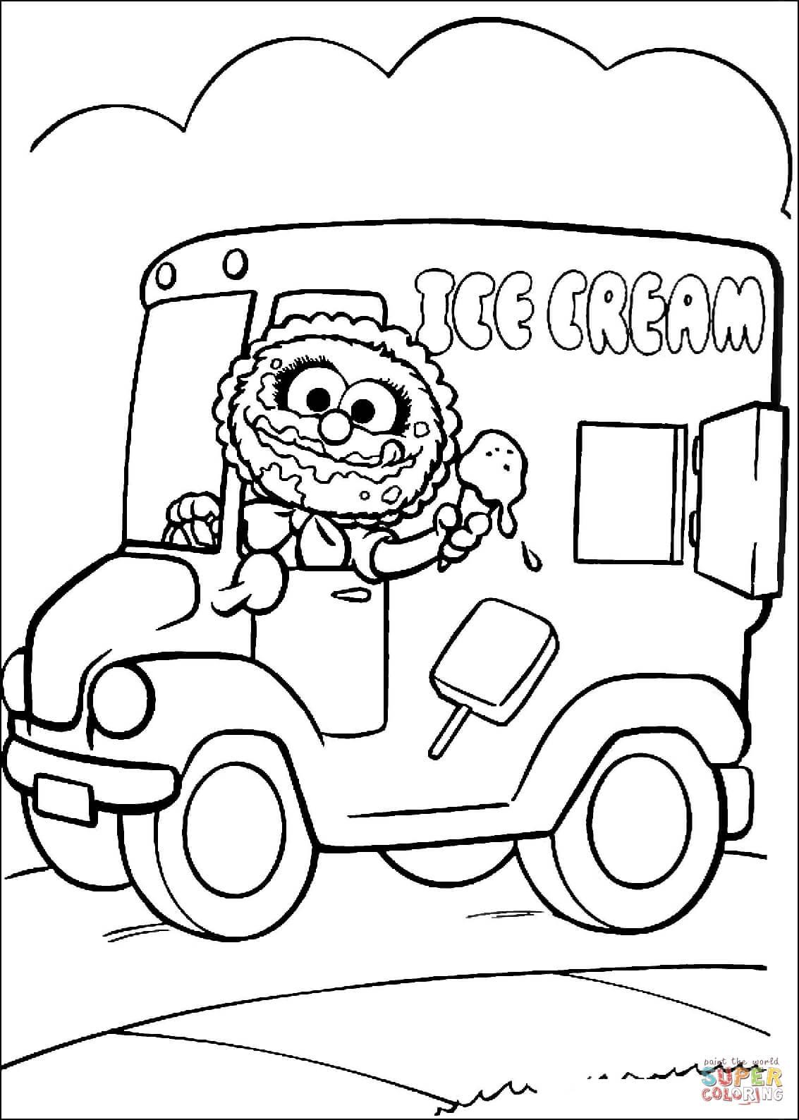Baby Animal Drives Ice Cream Van Coloring Page Free Printable