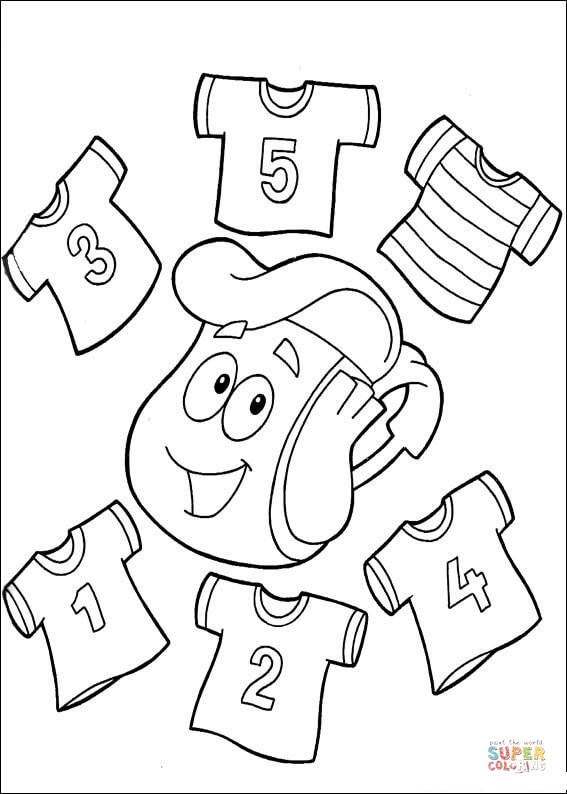 T-shirts with numbers 1,2,3,4,5 on them coloring page