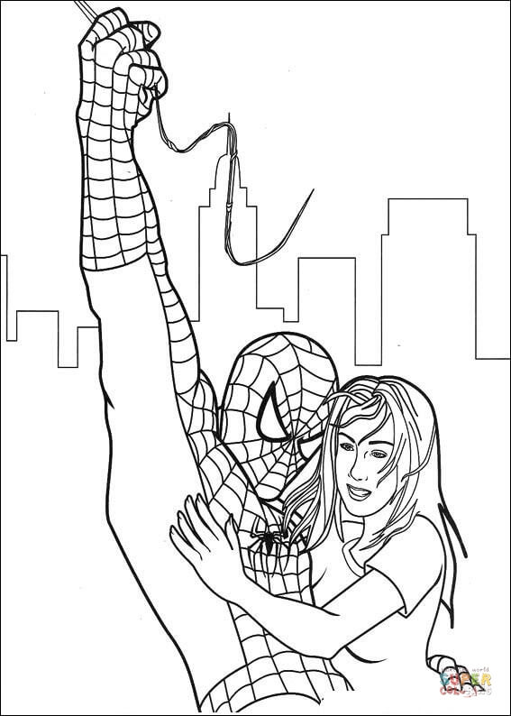 Spider Man Has Saved Gwen Stacy Coloring Page Free Printable Coloring Pages