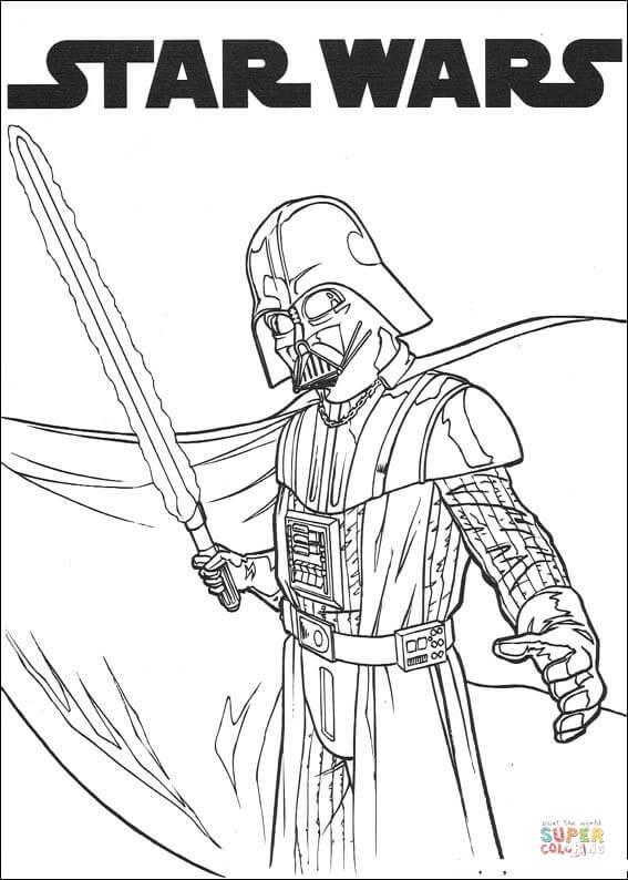 Desenho de Darth Vader com sabre de luz para colorir
