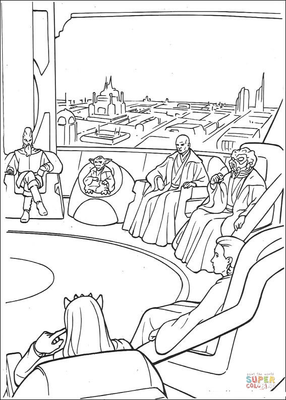 Jedi High Council meeting on Coruscant coloring page