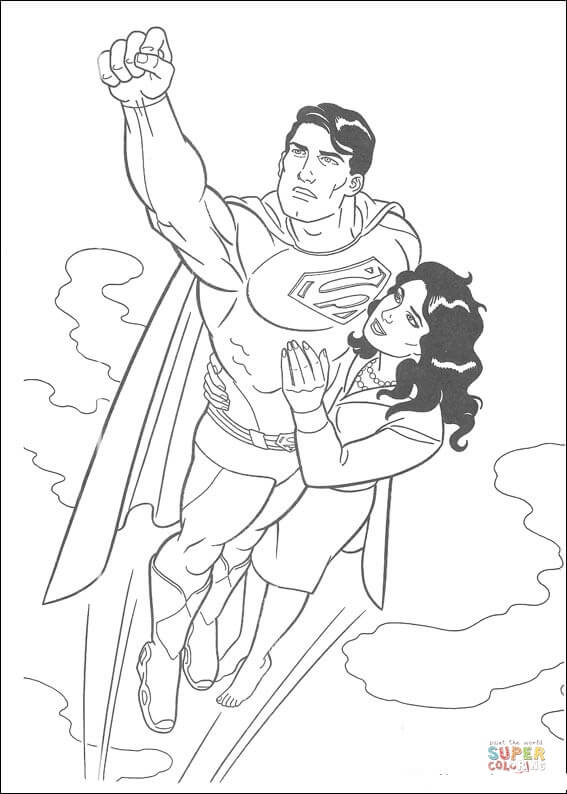 Superman Is Flying With Lois Lane Coloring Page Free