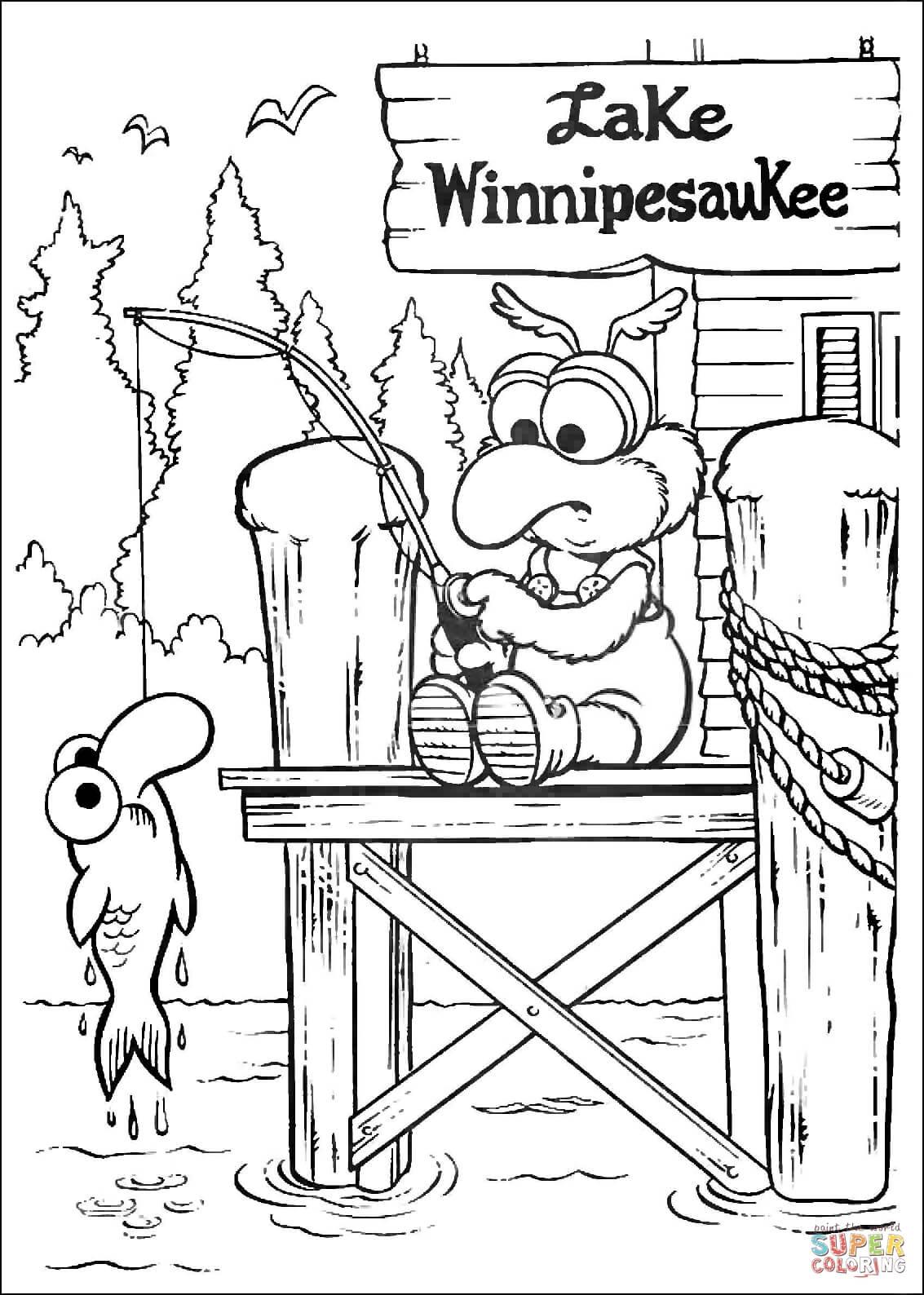 Baby Gonzo Is Fishing on Lake WinnipesauKee coloring page