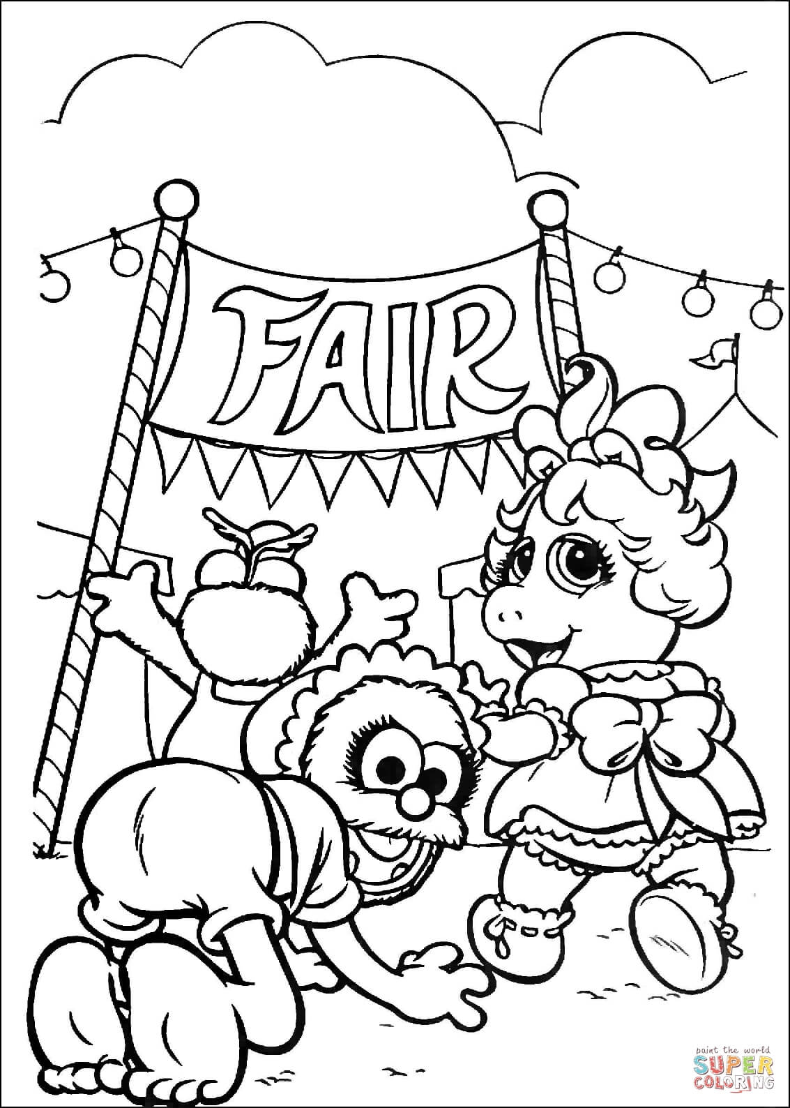 Muppet Babies On A Fair Market Coloring Page