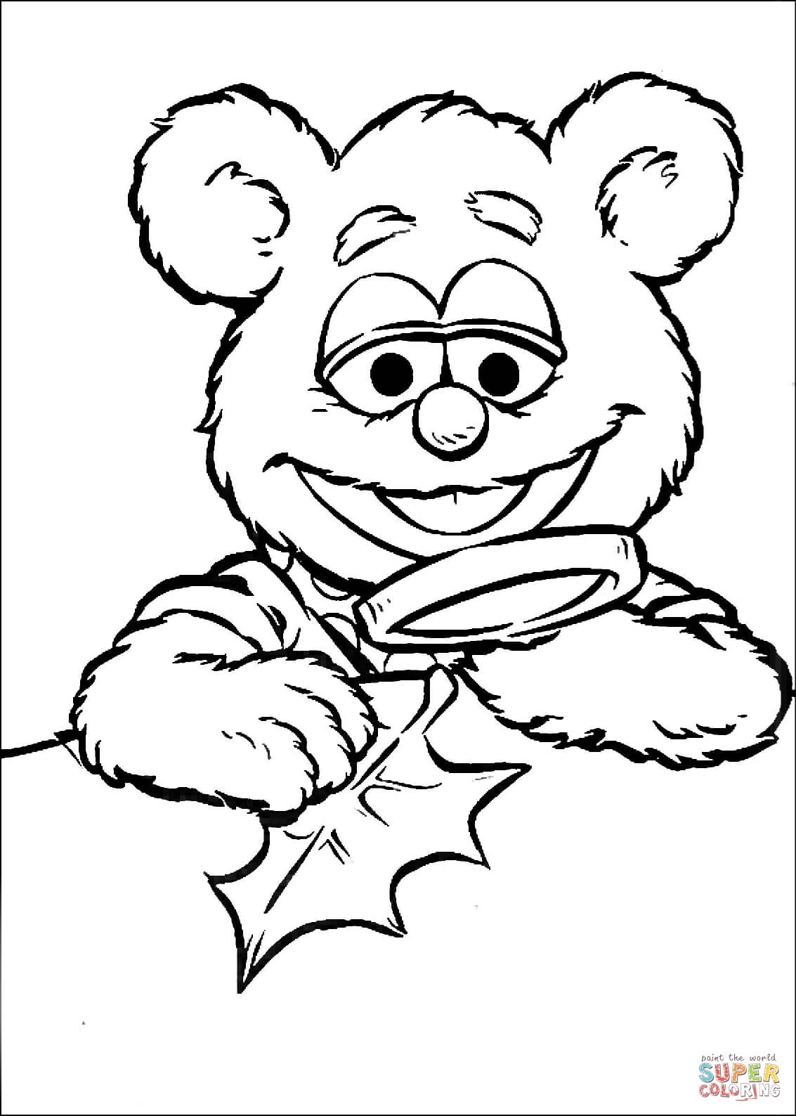 Baby Fozzie With Magnifying Glass Coloring Page
