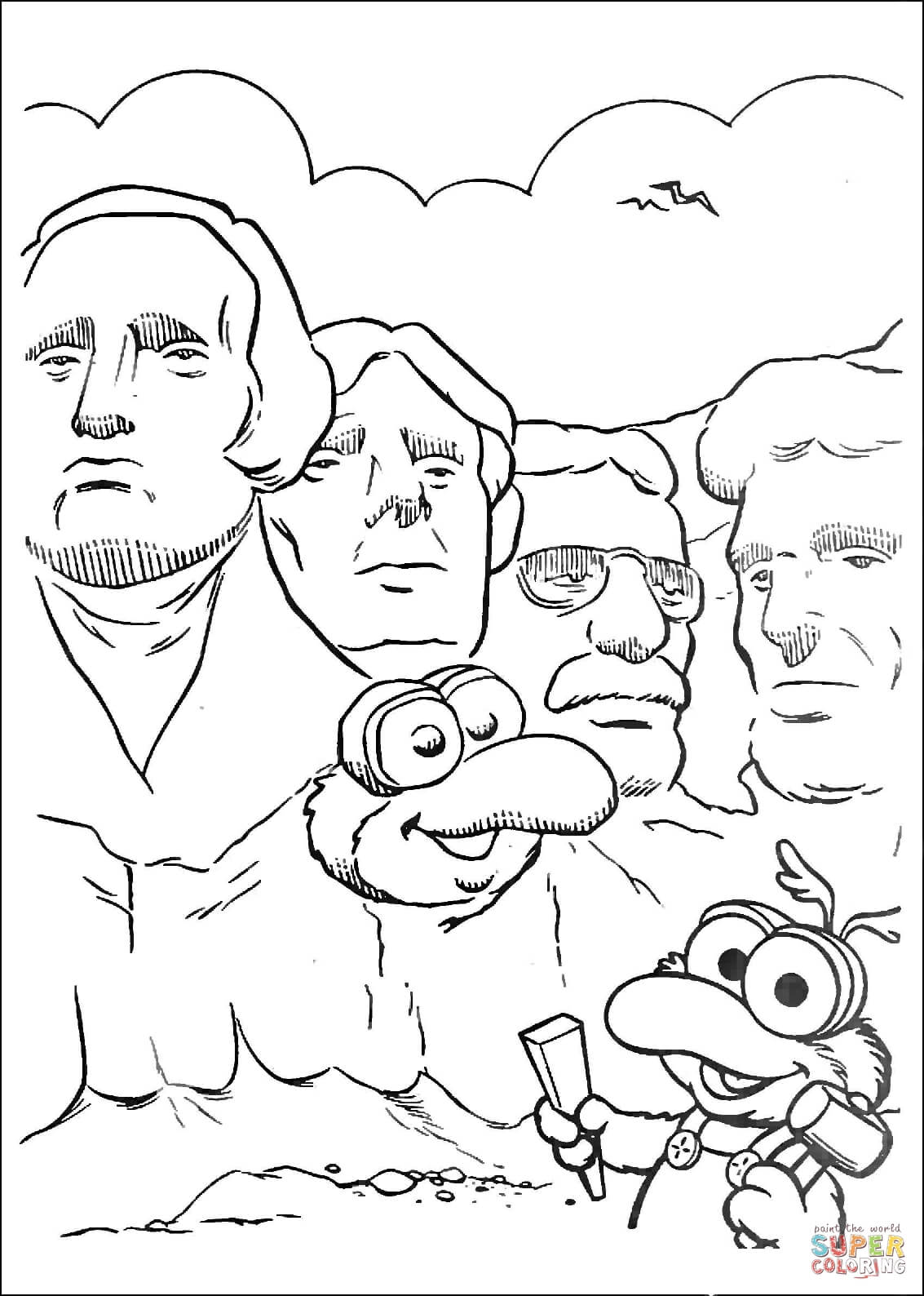 Baby Gonzo And Mount Rushmore National Memorial Coloring