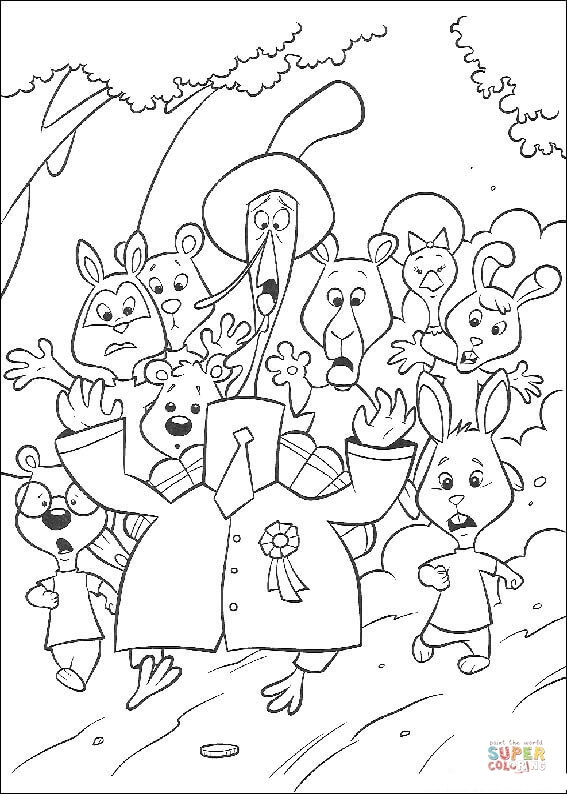 Animals are escaping an alien invasion coloring page